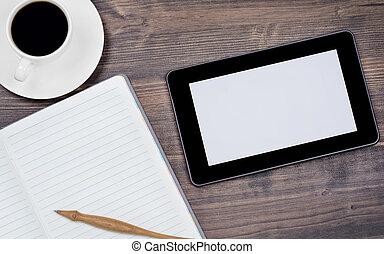 café, escritório, pc tabela, caneta, caderno