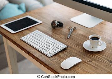 café, escritório, tabuleta, copo, computador, escrivaninha
