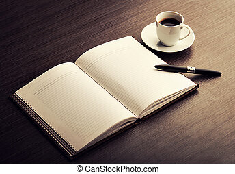 café, escritorio, pluma, cuaderno, blanco, blanco, abierto
