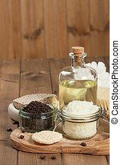 café, esfregar, toiletries, oil., feito à mão, coco, spa, ...