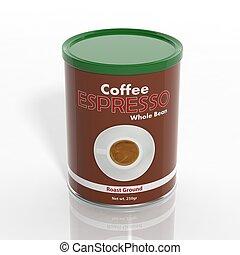 café, espresso, isolado, lata, branca, 3d