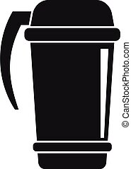 café, estilo, simple, thermo, icono, taza