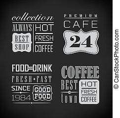 café, etiquetas, conjunto