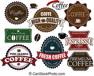 café, etiquetas, jogo