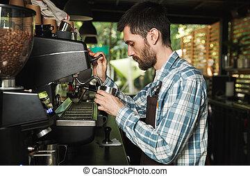 café, extérieur, barista, fonctionnement, image, café, quoique, confection, professionnel, café, ou, homme