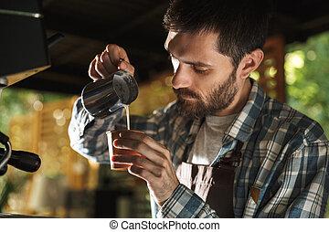 café, extérieur, barista, fonctionnement, image, café, quoique, masculin, confection, café, ou, homme
