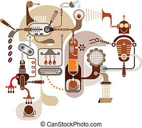 café, fábrica, -, vector, illustratio