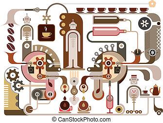 café, fábrica