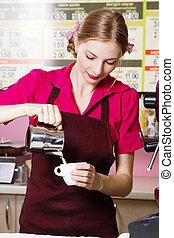 café faisant, amical, serveuse