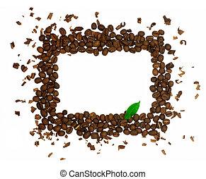 café, fait, feuille, symbole, isolé, o, haricots, rectangle vert