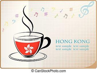 café, fait, hong kong drapeau, logo
