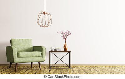café, fauteuil, rendre, intérieur, table, 3d