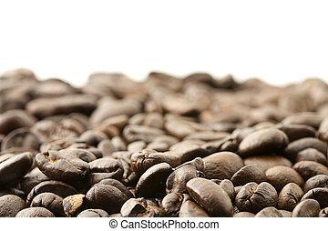 café, feijões brancos, lote, fundo