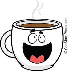 café, feliz, caricatura, copo