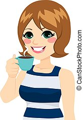 café, femme, avoir