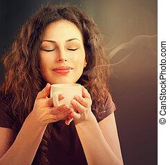 café, femme, beauté, tasse, thé, ou