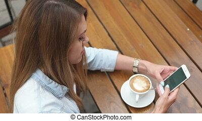 café, femme, boire, joli