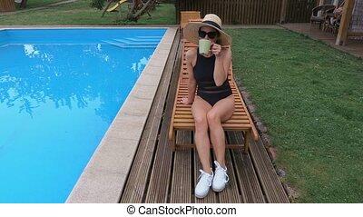 café, femme, boire, piscine
