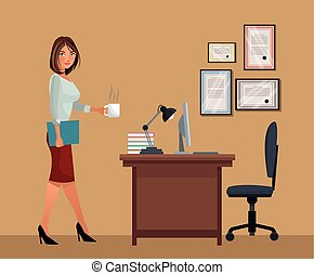 café, femme, bureau, tasse, ordinateur portable, lampe, chaise bureau