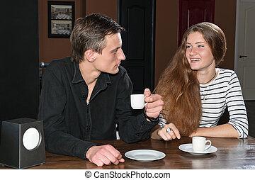 café, femme, café, avoir, homme