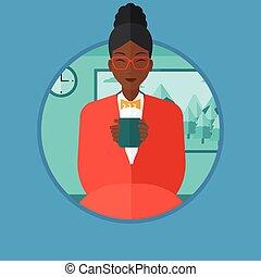 café, femme, illustration., thé, vecteur, boire, ou
