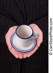 café, femme, ouvert, mains affaires