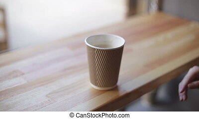 café, femme, restaurant, boire, café, ou