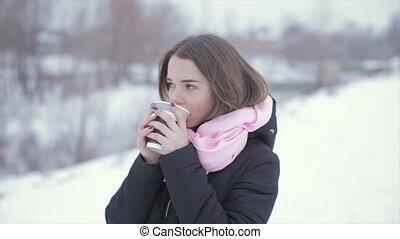 café, femme, tasse, papier, cappuccino, boire