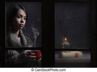 café, femme, tasse, thé, fenêtre, derrière, mouillé, ou
