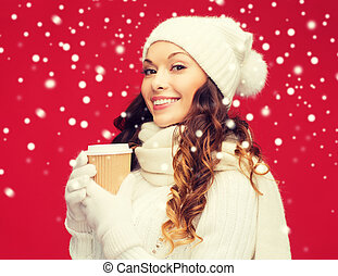 café, femme, tasse, thé, plat à emporter, chapeau, ou