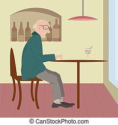 café, femme, vieux, séance