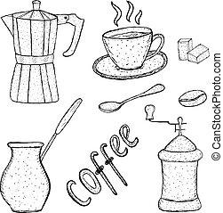 café, ferramenta, vindima, desenho, esboço, cobrança, mão, illustration;, vetorial, style.