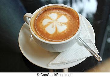 café, flor, arte, latte
