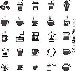 café, fond blanc, icônes