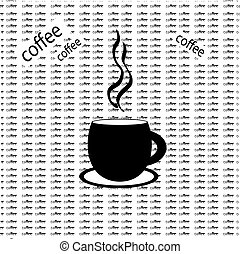 café, fond, mots