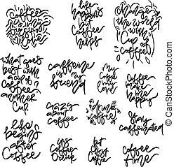 café, frases, mão, desenhado, lettering, vetorial, set.