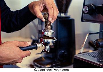 café, fresco, planchado, sedimento, barista