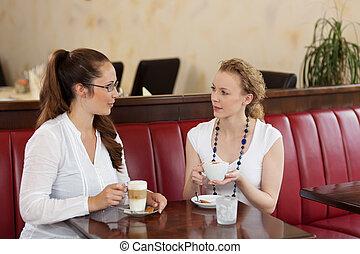 café, friends, weibliche , plaudern