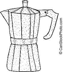 café, gêiser, esboço, ilustração, mão, vetorial, style., desenho
