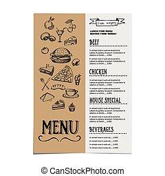 café, gabarit, menu, restaurant, design.