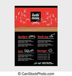 café, gabarit, vecteur, illustration., menu, restaurant, design.