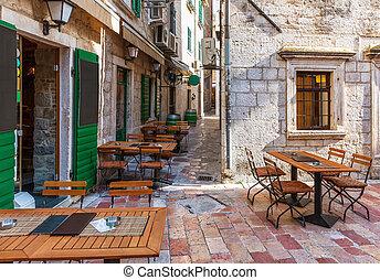 café, gens, vieux, montenergo, ville, non, européen, traditionnel, kotor