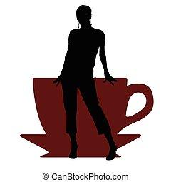 café, girl, illustration, tasse