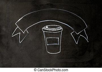 café, giz, ligado, pretas, escola, tábua, experiência.