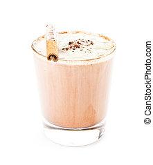 café, glacé, mélangé, isolé, fond, frappe, blanc