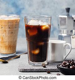 café, glace, haricots, verre, grand