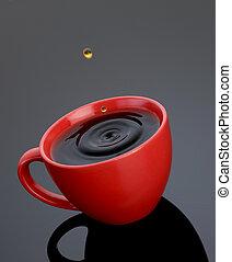 café, goutte, tasse rouge