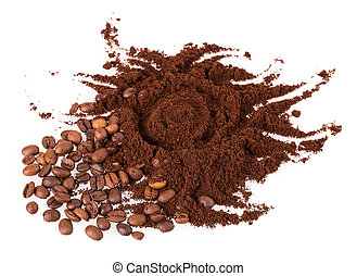 café, grão, chão