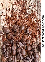 café, grão madeira, fundo, chão