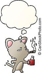 café, gradient, cigare, lisser, style, chat, a pensé bulle, dessin animé